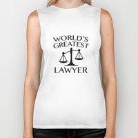 lawyer Biker Tanks featuring World's Greatest Lawyer by AmazingVision