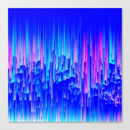 Neon Rain - A Digital Abstract Canvas Print