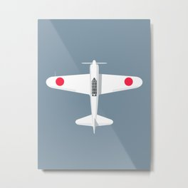 A6M Zero WWII Fighter Aircraft - Slate Metal Print