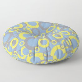 Funky Ring Pattern 2 V5 2021 Color of the year Illuminating Yellow, Ultimate Gray and Placid Blue Floor Pillow