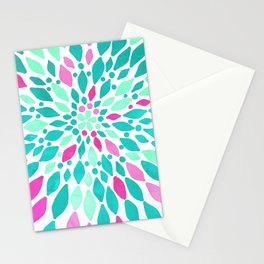 Radiant Dahlia 2 - mint, teal, magenta, pink watercolor pattern Stationery Cards