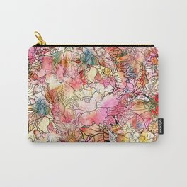 Summer Flowers | Colorful Watercolor Floral Pattern Abstract Sketch Carry-All Pouch