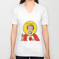 christ V-neck T-shirts featuring Auntie-Christ by MilkGhost