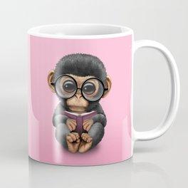 Cute Pink Baby Chimp Reading a Book Coffee Mug