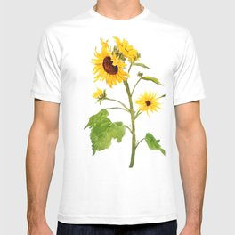 One sunflower watercolor arts T-shirt