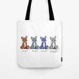 Cute Kawaii North American Fox Types Arctic Kit Red Gray Tote Bag