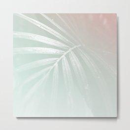 Tropical Palm Leaf green pink Metal Print
