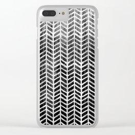 Herringbone & Teak (Black & White) Clear iPhone Case