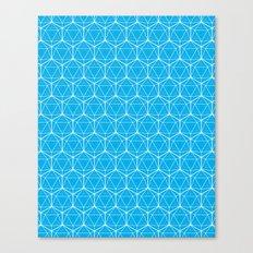Icosahedron Pattern Bright Blue Canvas Print
