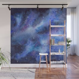 Starry Blue Galaxy Watercolor Wall Mural