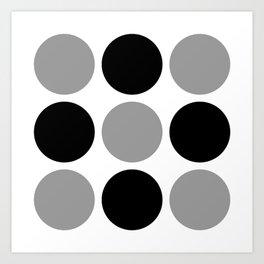 Mid Century Modern Polka Dot Pattern 9 Black and Gray Art Print