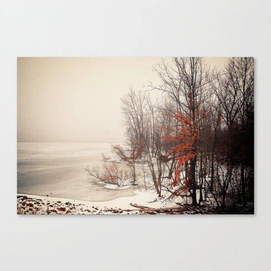On winters frozen pond Canvas Print