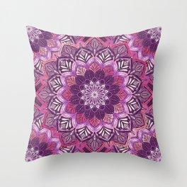 Boho Mandala in Deep Purple and Pink Throw Pillow