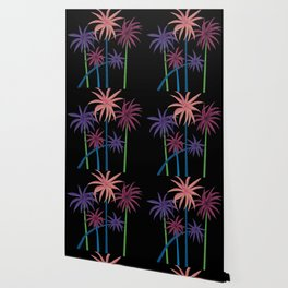Neon Palms on Black Wallpaper
