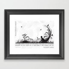 Secret Garden Black and White Illustrated Quote Framed Art Print