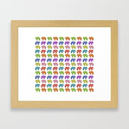 Colorful Parade of Elephants in Red, Orange, Yellow, Green, Blue, Purple and Pink Framed Art Print