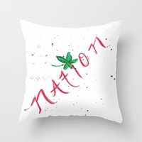 ohio state Throw Pillows featuring Ohio State Football by StephsPrettyLilPage