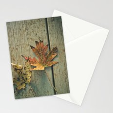 Fallen Ones, Two Autumn Leaves on Rustic Blue Porch Boards Stationery Cards