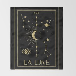 The Moon or La Lune Gold Edition Throw Blanket
