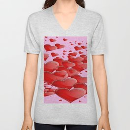 RED CANDY VALENTINE HEARTS IN PINK ART Unisex V-Neck
