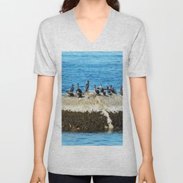 Cormorants Basking on a Boulder Unisex V-Neck