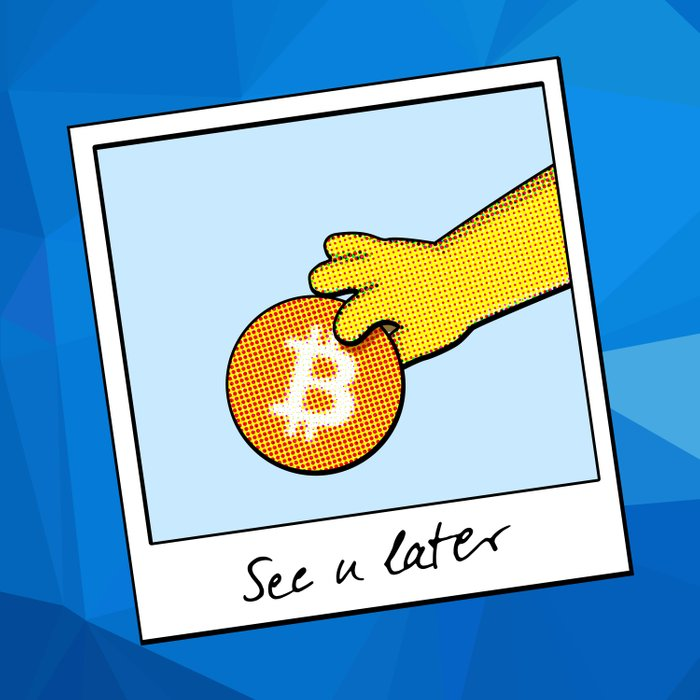 See you later Bitcoin on blue facets Duvet Cover