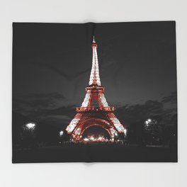 Paris Eiffel Tower Pink Night Throw Blanket