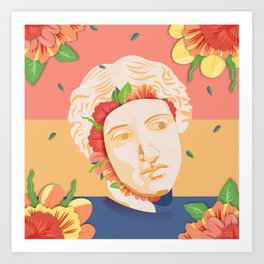 Abstract greek head with flower patterns Art Print