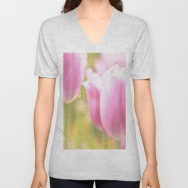 Spring is here with wonderful  colors - close-up of tulips flowers Unisex V-Neck