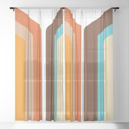 Geometric 70's Style Desig Sheer Curtain