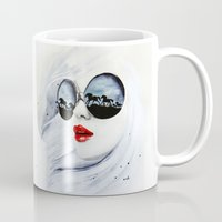 horses Mugs featuring Wild Horses by anna hammer