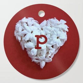 Red Monogrammed Heart P Cutting Board