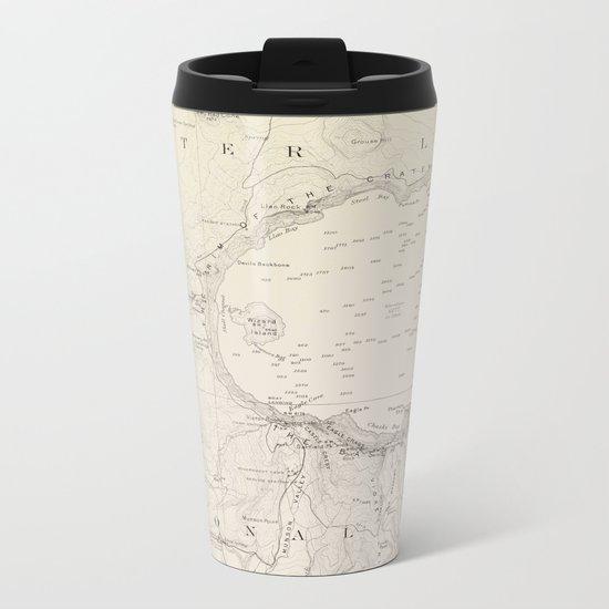 Crater Lake Vintage Map Metal Travel Mug