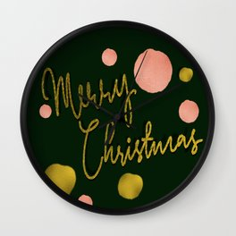 Merry Christmas in rose and gold balls Wall Clock