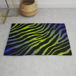 Ripped SpaceTime Stripes - Blue/Lime Rug