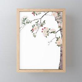 pink cherry blossom Japanese woodblock prints style Framed Mini Art Print