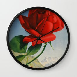 Fresh Red Rose Wall Clock