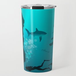 Beautiful coral reef and silhouettes of diver and school of fish in a blue sea Travel Mug