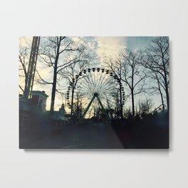 Ferris Wheel Filtered Metal Print
