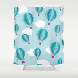 Hot air balloons and clouds - blue Shower Curtain