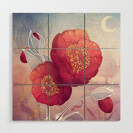 Christmas Roses :: Red Petals, Frosted Leaves Wood Wall Art