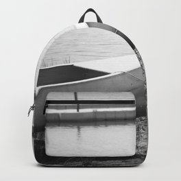 The Boat is Here Dark Black and White Backpack