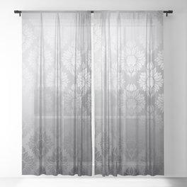 """Neutral gray Damask Pattern"" Sheer Curtain"