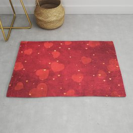 Valentine Red and Gold Heart Pattern Rug