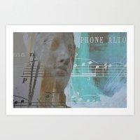 palo alto Art Prints featuring Saxophone alto by arantzazugcalderon