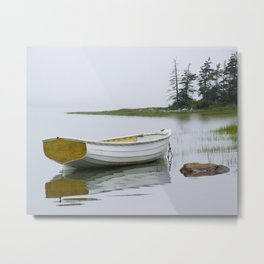 A Fine Art Photograph of a White Maine Boat on a Foggy Morning Metal Print