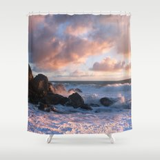 White With Foam Shower Curtain