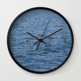Lucky fishers-puffins Wall Clock