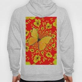 BUTTERFLIES RED  AMARYLLIS FLOWERS ABSTRACT ART Hoody