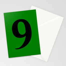 9 (BLACK & GREEN NUMBERS) Stationery Cards